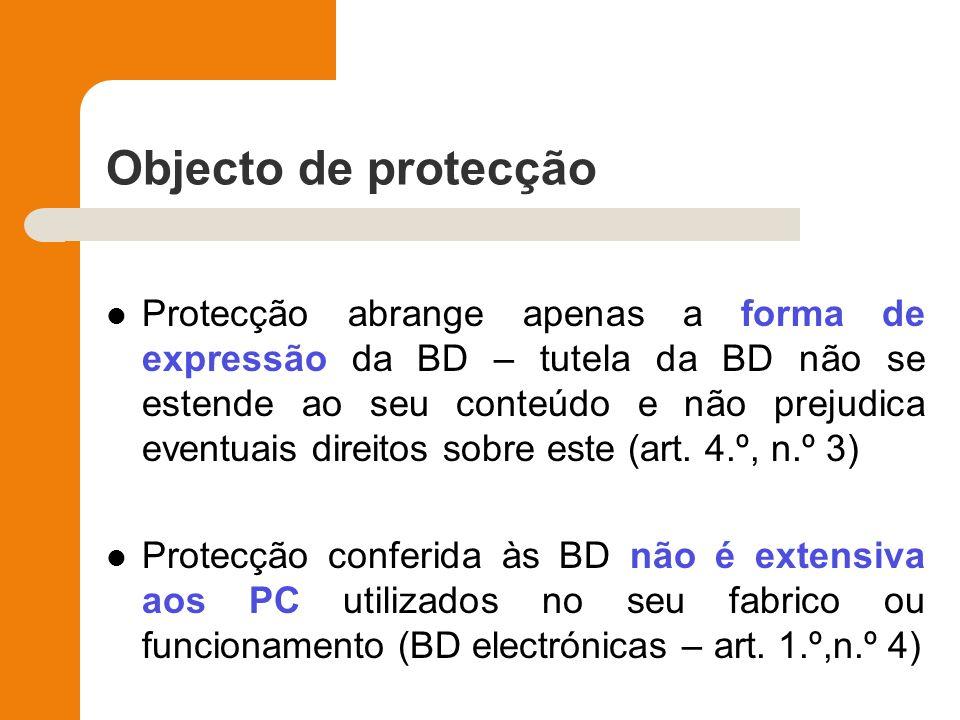 Objecto de protecção Protecção abrange apenas a forma de expressão da BD – tutela da BD não se estende ao seu conteúdo e não prejudica eventuais direi