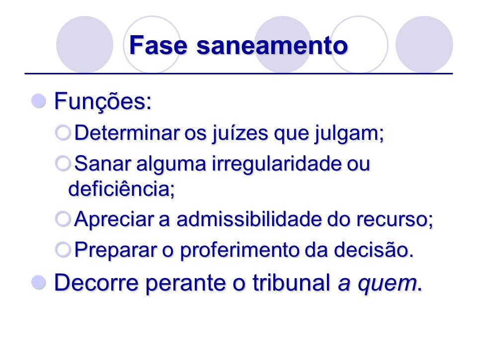 Fase saneamento Funções: Funções: Determinar os juízes que julgam; Determinar os juízes que julgam; Sanar alguma irregularidade ou deficiência; Sanar