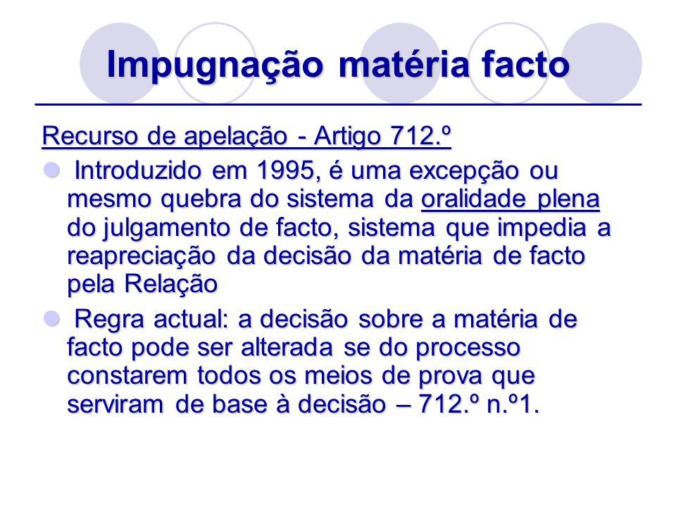 Impugnação matéria facto Recurso de apelação - Artigo 712.º Introduzido em 1995, é uma excepção ou mesmo quebra do sistema da oralidade plena do julga