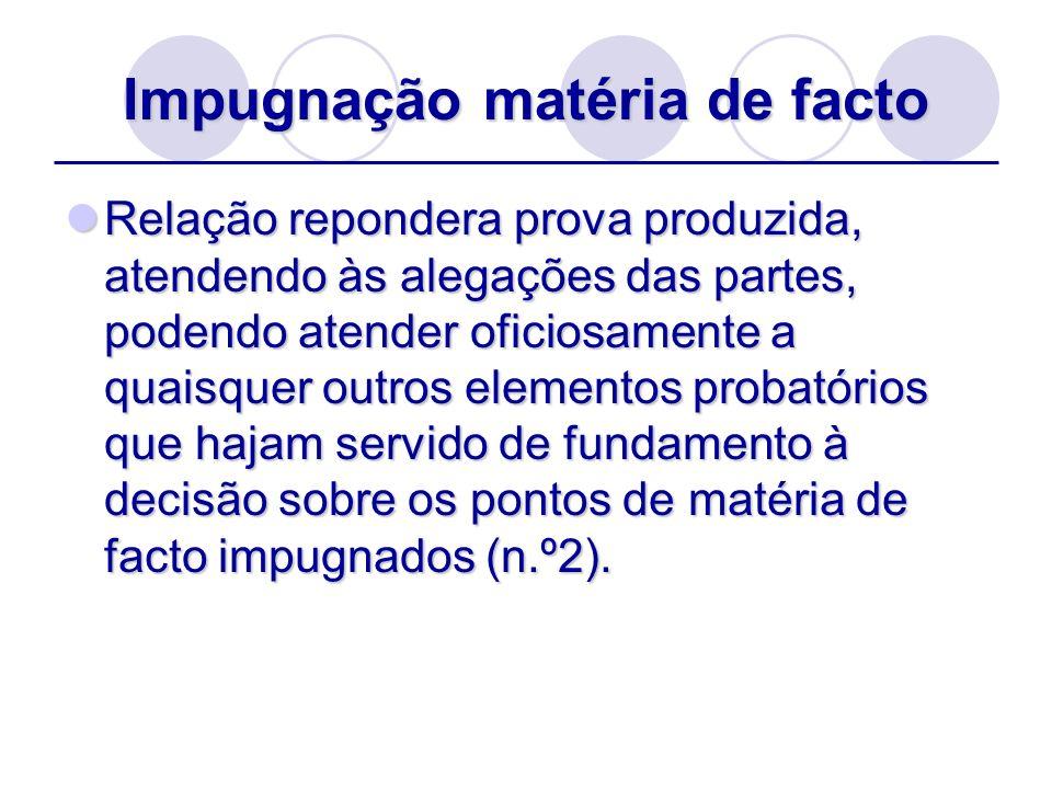 Impugnação matéria de facto Relação repondera prova produzida, atendendo às alegações das partes, podendo atender oficiosamente a quaisquer outros ele