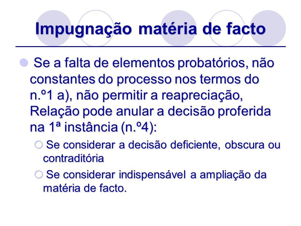 Impugnação matéria de facto Se a falta de elementos probatórios, não constantes do processo nos termos do n.º1 a), não permitir a reapreciação, Relaçã