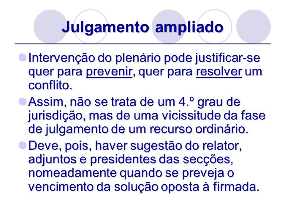 Julgamento ampliado Intervenção do plenário pode justificar-se quer para prevenir, quer para resolver um conflito. Intervenção do plenário pode justif