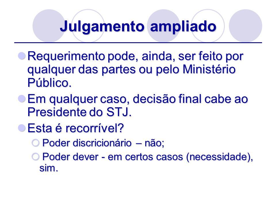 Julgamento ampliado Requerimento pode, ainda, ser feito por qualquer das partes ou pelo Ministério Público. Requerimento pode, ainda, ser feito por qu