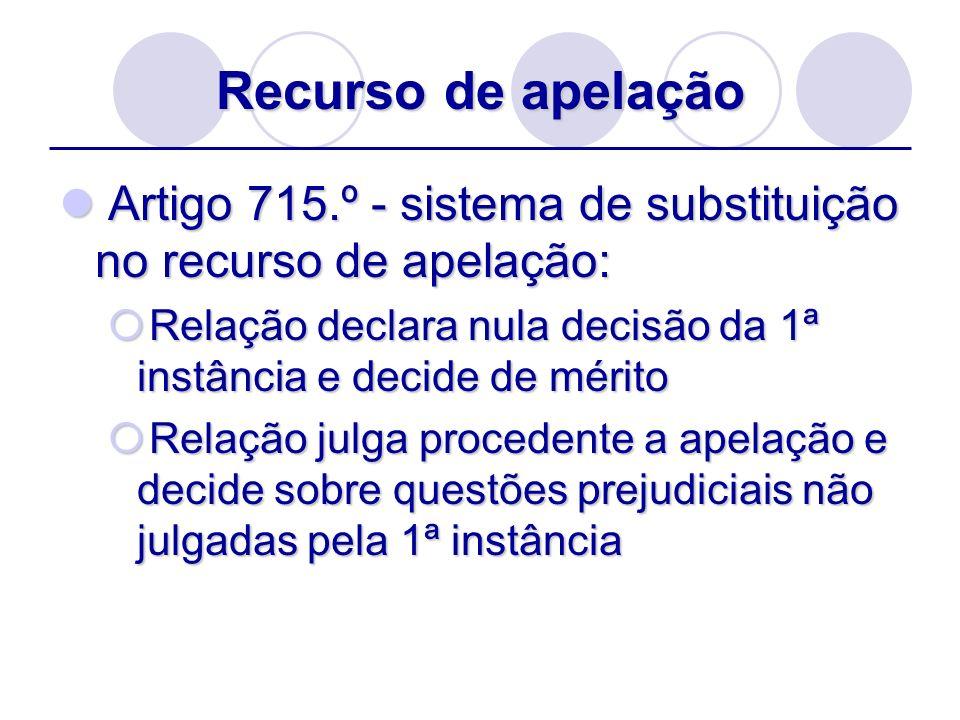 Recurso de apelação Artigo 715.º - sistema de substituição no recurso de apelação: Artigo 715.º - sistema de substituição no recurso de apelação: Rela