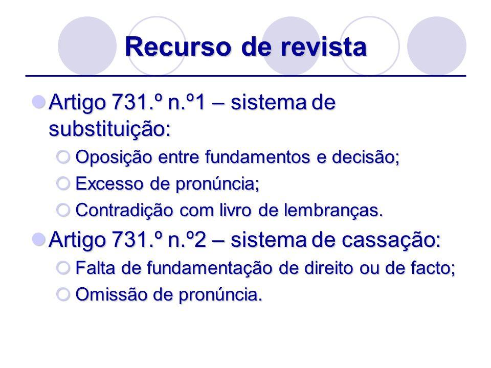 Recurso de revista Artigo 731.º n.º1 – sistema de substituição: Artigo 731.º n.º1 – sistema de substituição: Oposição entre fundamentos e decisão; Opo