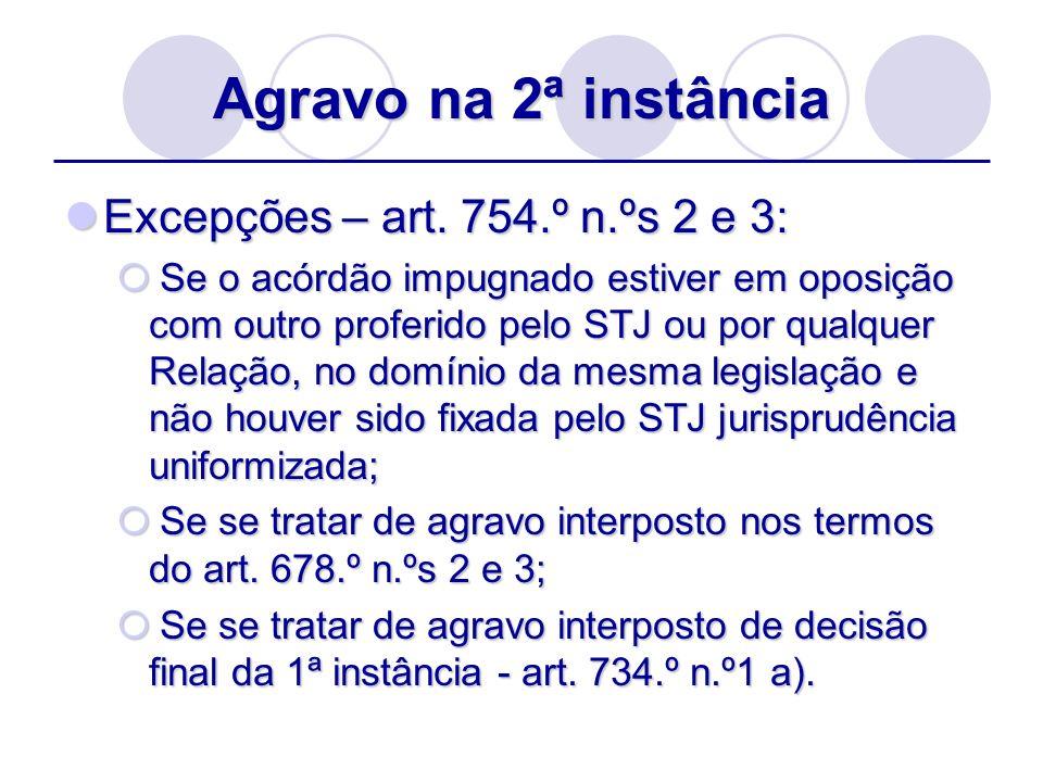 Agravo na 2ª instância Excepções – art. 754.º n.ºs 2 e 3: Excepções – art. 754.º n.ºs 2 e 3: Se o acórdão impugnado estiver em oposição com outro prof