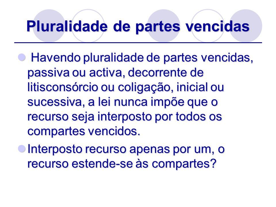 Pluralidade de partes vencidas Havendo pluralidade de partes vencidas, passiva ou activa, decorrente de litisconsórcio ou coligação, inicial ou sucess