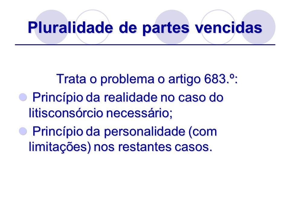 Pluralidade de partes vencidas Trata o problema o artigo 683.º: Trata o problema o artigo 683.º: Princípio da realidade no caso do litisconsórcio nece