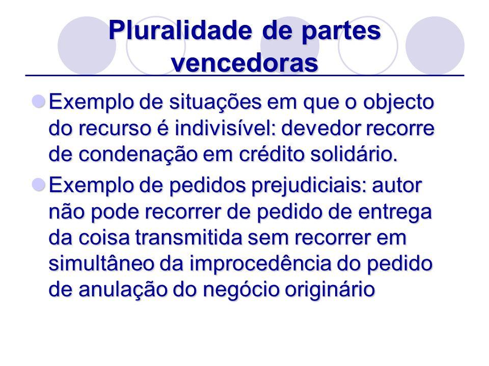 Exemplo de situações em que o objecto do recurso é indivisível: devedor recorre de condenação em crédito solidário. Exemplo de situações em que o obje