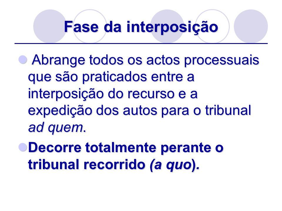 Fase da interposição Abrange todos os actos processuais que são praticados entre a interposição do recurso e a expedição dos autos para o tribunal ad