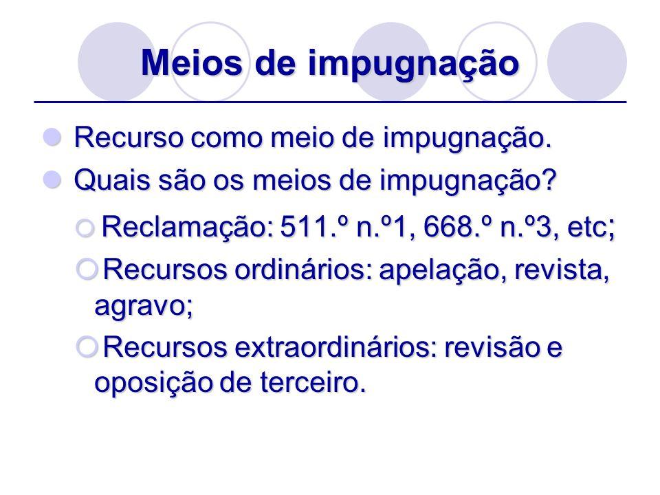 Meios de impugnação Recurso como meio de impugnação. Recurso como meio de impugnação. Quais são os meios de impugnação? Quais são os meios de impugnaç