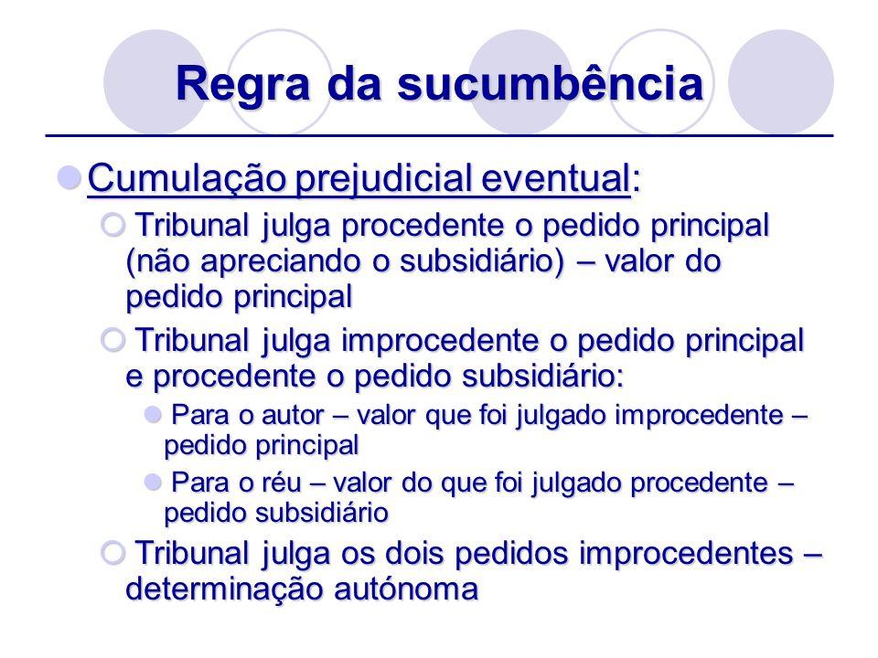 Regra da sucumbência Cumulação prejudicial eventual: Cumulação prejudicial eventual: Tribunal julga procedente o pedido principal (não apreciando o su
