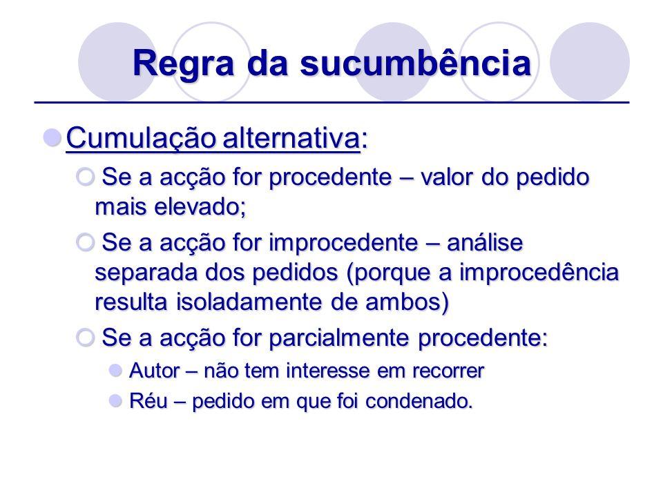 Regra da sucumbência Cumulação alternativa: Cumulação alternativa: Se a acção for procedente – valor do pedido mais elevado; Se a acção for procedente