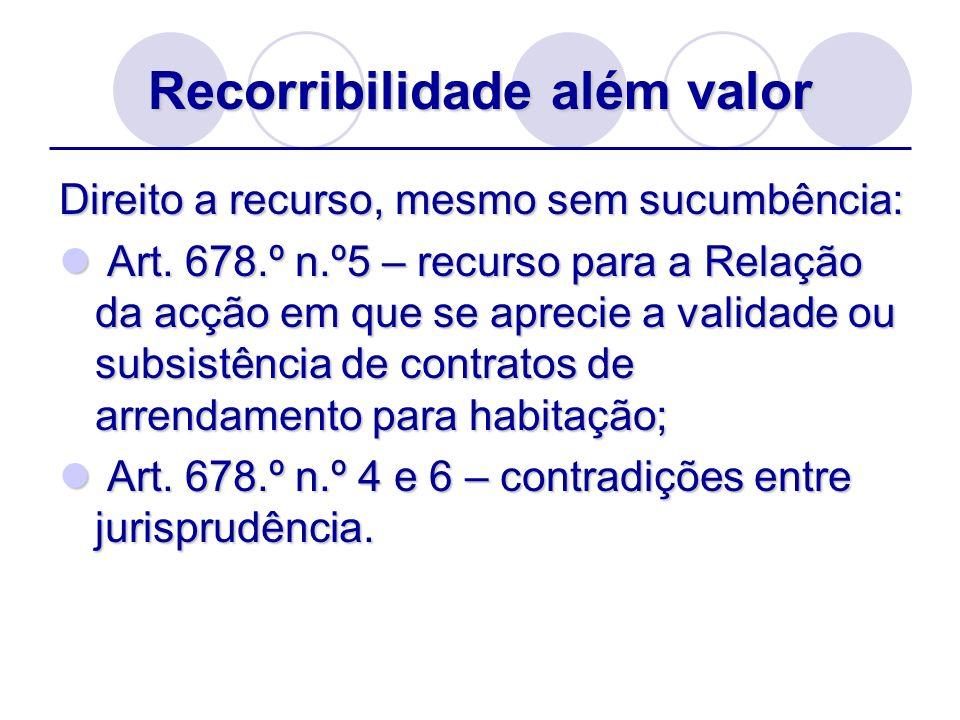 Recorribilidade além valor Direito a recurso, mesmo sem sucumbência: Art. 678.º n.º5 – recurso para a Relação da acção em que se aprecie a validade ou