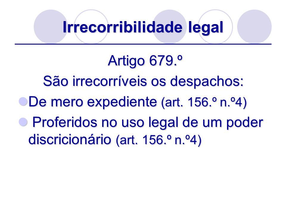 Irrecorribilidade legal Artigo 679.º Artigo 679.º São irrecorríveis os despachos: De mero expediente (art. 156.º n.º4) De mero expediente (art. 156.º