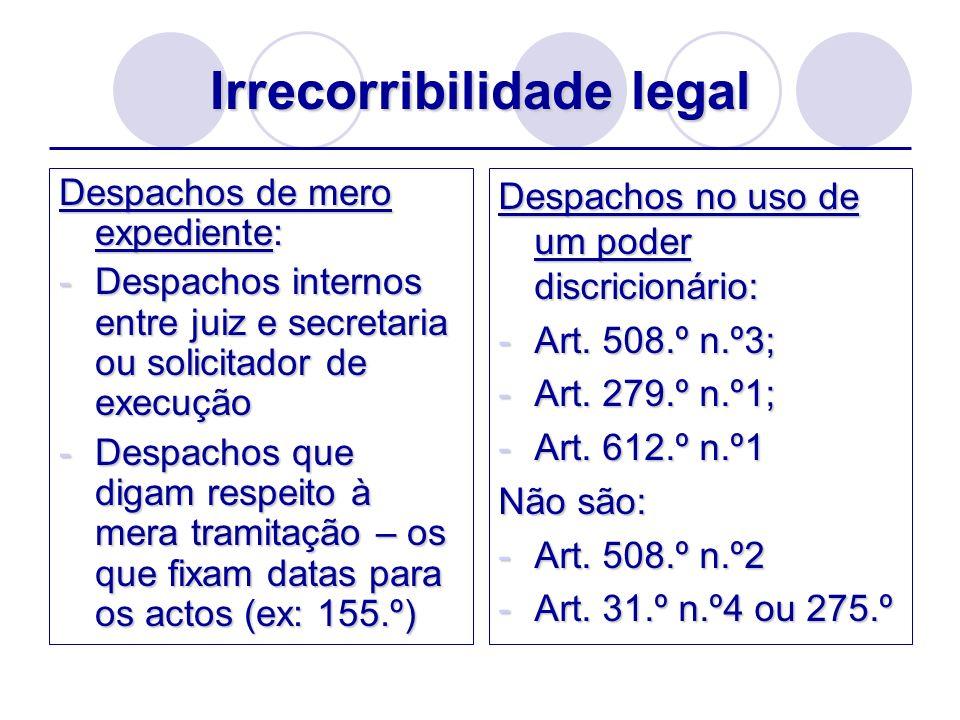 Irrecorribilidade legal Despachos de mero expediente: -Despachos internos entre juiz e secretaria ou solicitador de execução -Despachos que digam resp