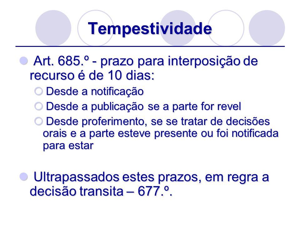 Tempestividade Art. 685.º - prazo para interposição de recurso é de 10 dias: Art. 685.º - prazo para interposição de recurso é de 10 dias: Desde a not