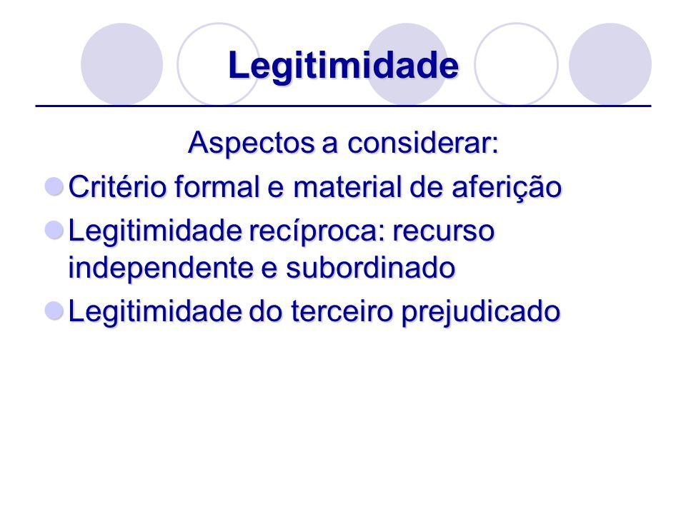 Legitimidade Aspectos a considerar: Critério formal e material de aferição Critério formal e material de aferição Legitimidade recíproca: recurso inde