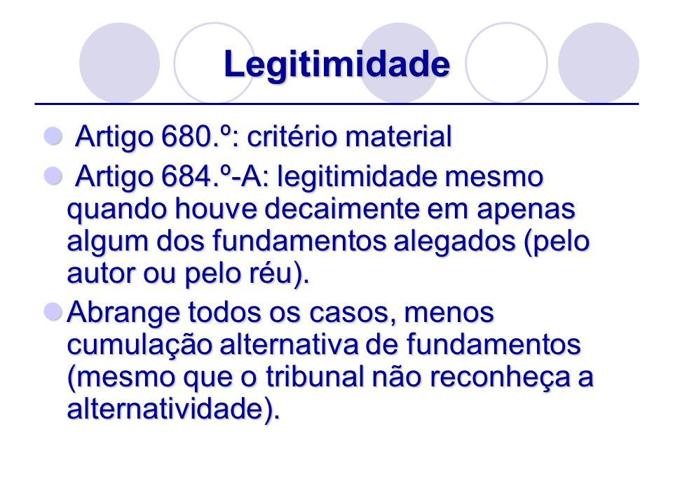 Legitimidade Artigo 680.º: critério material Artigo 680.º: critério material Artigo 684.º-A: legitimidade mesmo quando houve decaimente em apenas algu