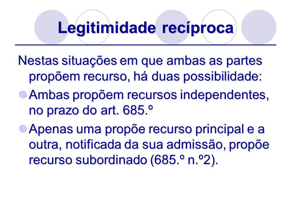 Legitimidade recíproca Nestas situações em que ambas as partes propõem recurso, há duas possibilidade: Ambas propõem recursos independentes, no prazo