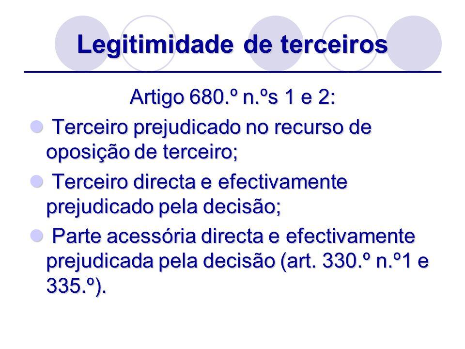 Legitimidade de terceiros Artigo 680.º n.ºs 1 e 2: Terceiro prejudicado no recurso de oposição de terceiro; Terceiro prejudicado no recurso de oposiçã
