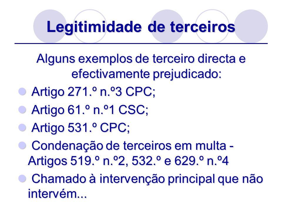 Legitimidade de terceiros Alguns exemplos de terceiro directa e efectivamente prejudicado: Artigo 271.º n.º3 CPC; Artigo 271.º n.º3 CPC; Artigo 61.º n