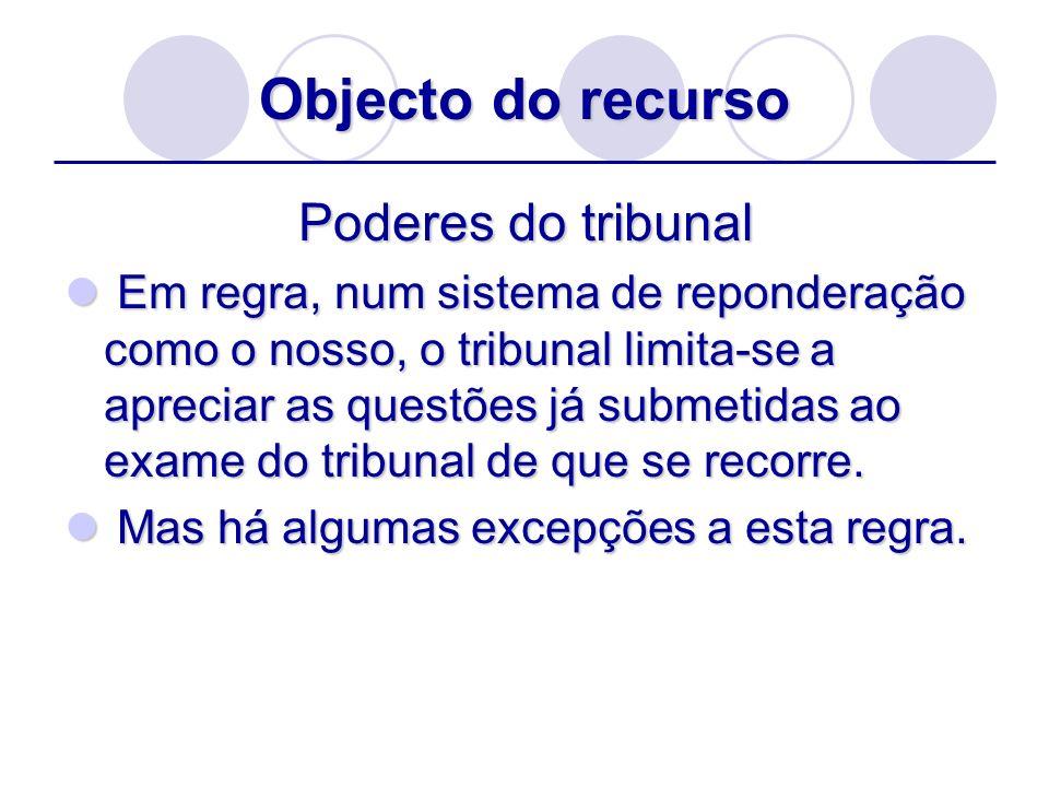 Objecto do recurso Poderes do tribunal Em regra, num sistema de reponderação como o nosso, o tribunal limita-se a apreciar as questões já submetidas a
