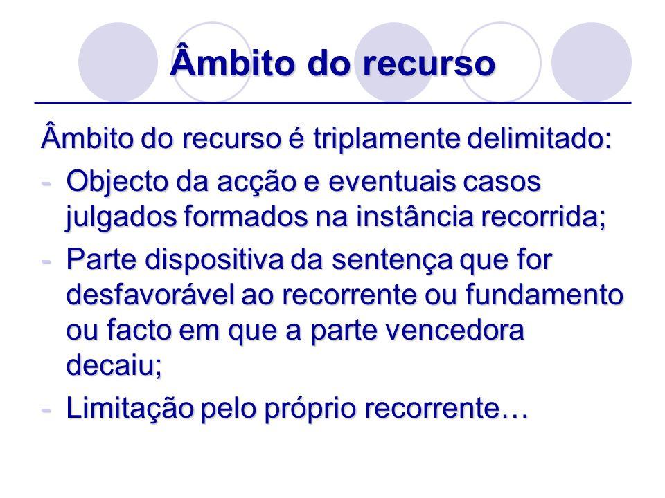 Âmbito do recurso Âmbito do recurso é triplamente delimitado: -Objecto da acção e eventuais casos julgados formados na instância recorrida; -Parte dis