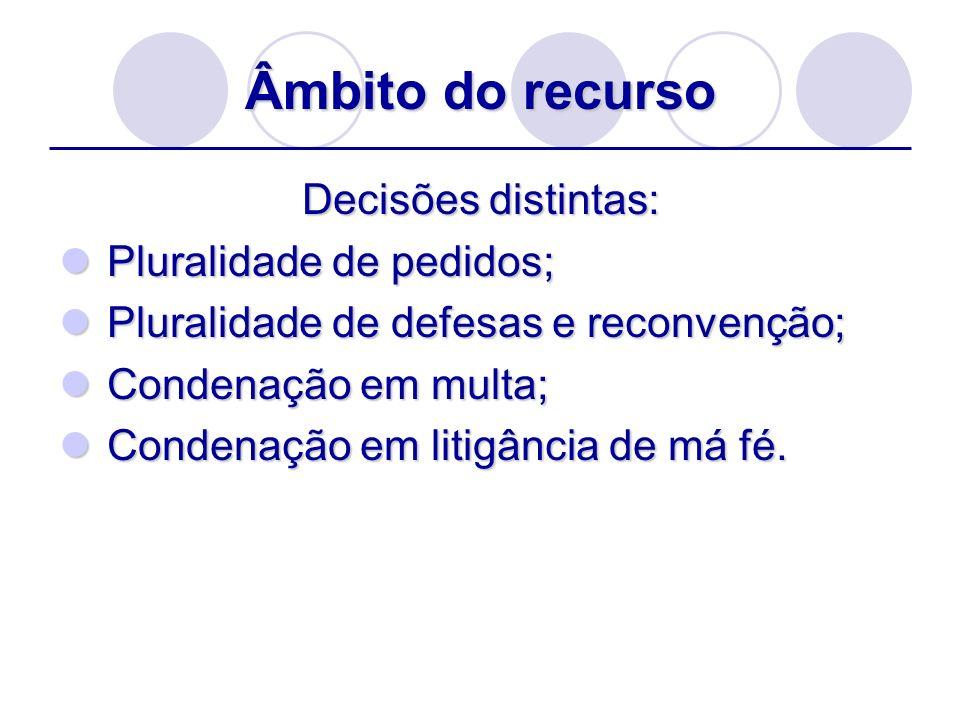 Âmbito do recurso Decisões distintas: Pluralidade de pedidos; Pluralidade de pedidos; Pluralidade de defesas e reconvenção; Pluralidade de defesas e r