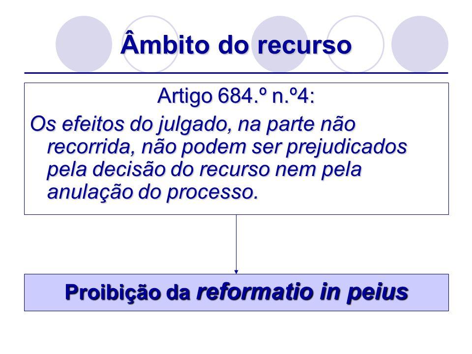 Âmbito do recurso Artigo 684.º n.º4: Os efeitos do julgado, na parte não recorrida, não podem ser prejudicados pela decisão do recurso nem pela anulaç