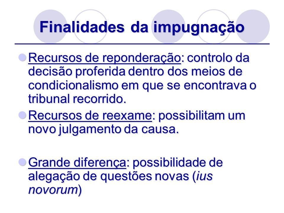 Finalidades da impugnação Reponderação: Apenas verificam se a decisão é boa face aos elementos da decisão.