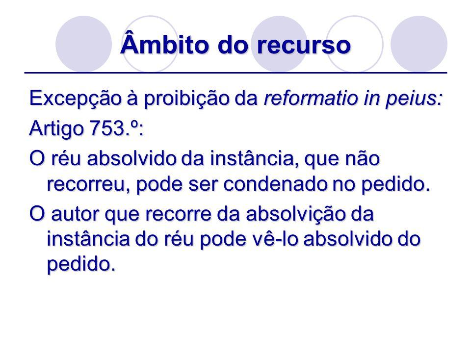 Âmbito do recurso Excepção à proibição da reformatio in peius: Artigo 753.º: O réu absolvido da instância, que não recorreu, pode ser condenado no ped