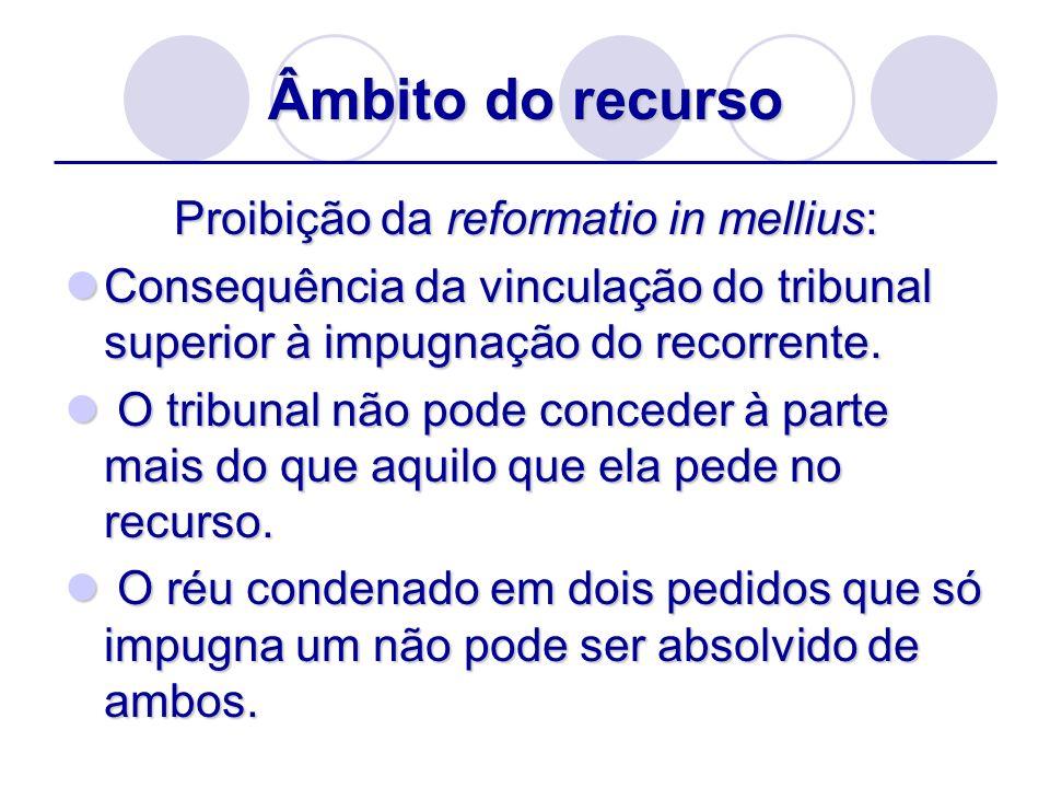 Âmbito do recurso Proibição da reformatio in mellius: Consequência da vinculação do tribunal superior à impugnação do recorrente. Consequência da vinc
