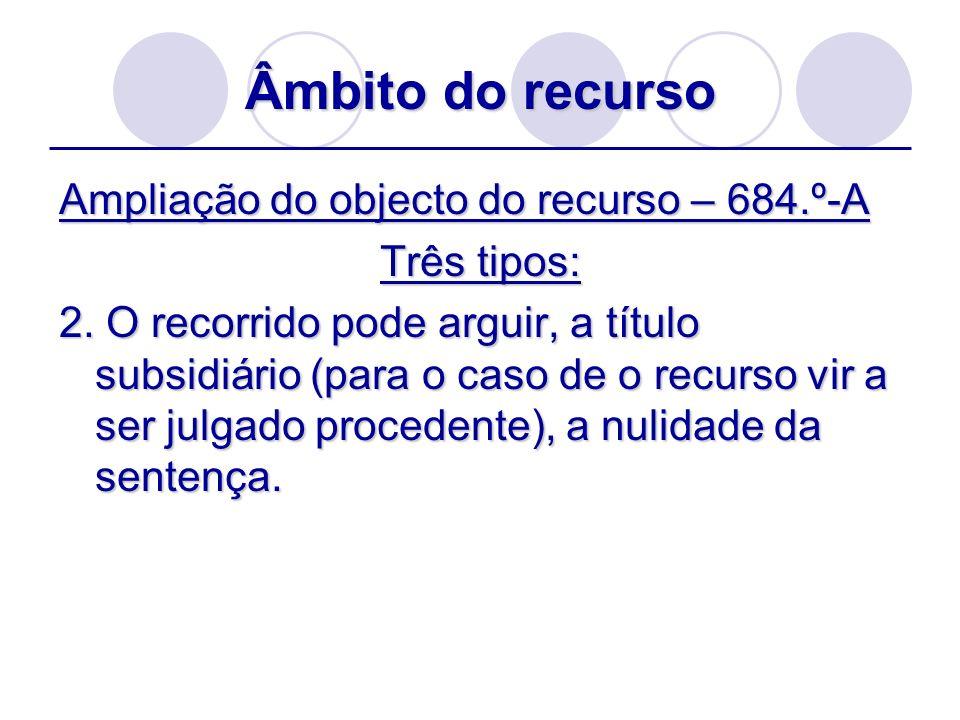Âmbito do recurso Ampliação do objecto do recurso – 684.º-A Três tipos: 2. O recorrido pode arguir, a título subsidiário (para o caso de o recurso vir