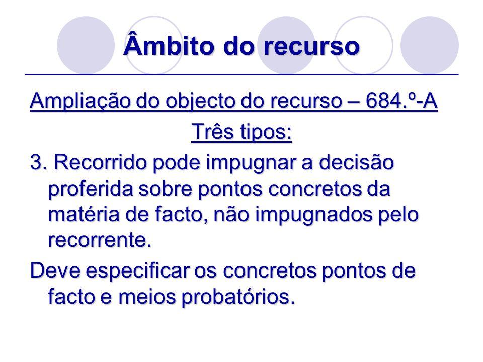 Âmbito do recurso Ampliação do objecto do recurso – 684.º-A Três tipos: 3. Recorrido pode impugnar a decisão proferida sobre pontos concretos da matér