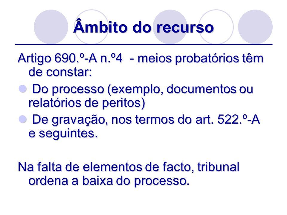Âmbito do recurso Artigo 690.º-A n.º4 - meios probatórios têm de constar: Do processo (exemplo, documentos ou relatórios de peritos) Do processo (exem