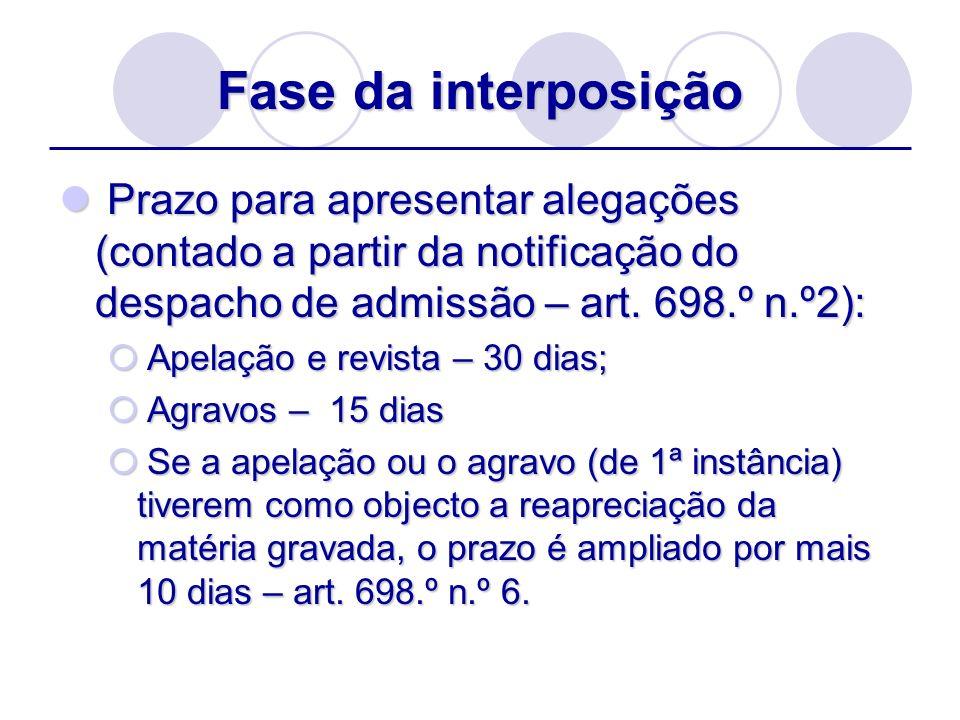 Fase da interposição Prazo para apresentar alegações (contado a partir da notificação do despacho de admissão – art. 698.º n.º2): Prazo para apresenta