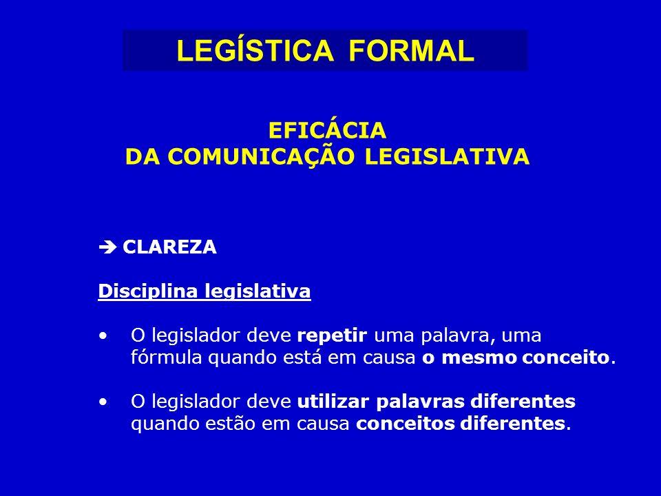 CLAREZA Disciplina legislativa O legislador deve repetir uma palavra, uma fórmula quando está em causa o mesmo conceito.