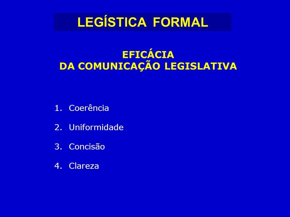 1.Coerência 2.Uniformidade 3.Concisão 4.Clareza EFICÁCIA DA COMUNICAÇÃO LEGISLATIVA LEGÍSTICA FORMAL