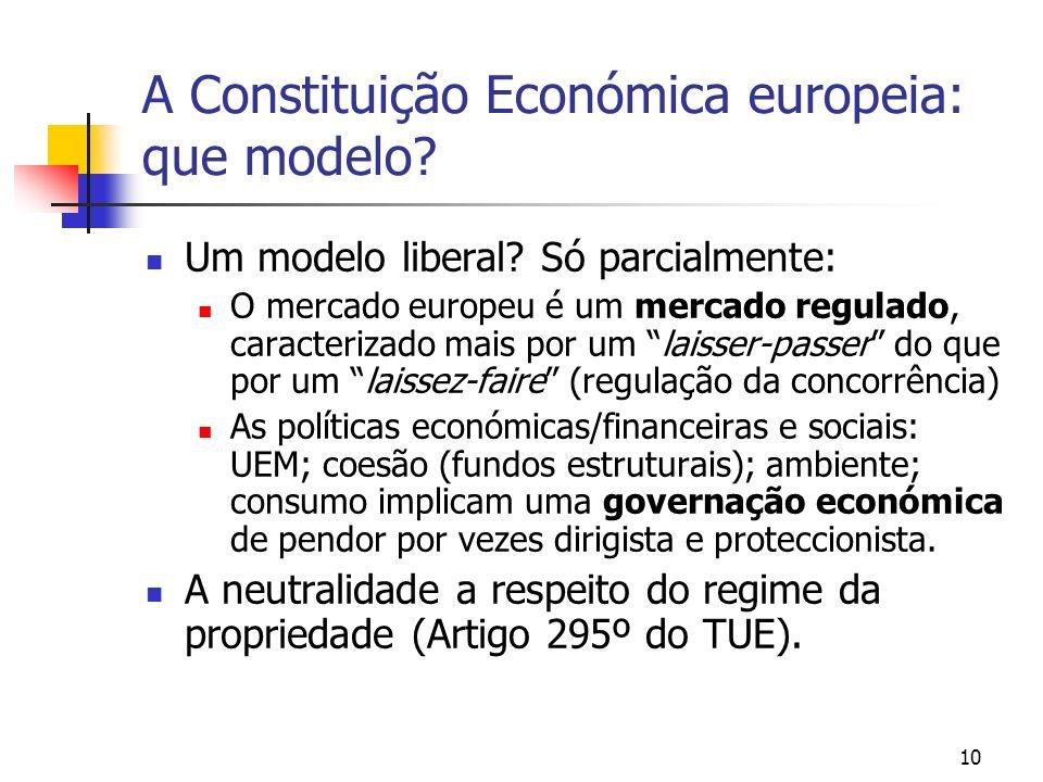 10 A Constituição Económica europeia: que modelo? Um modelo liberal? Só parcialmente: O mercado europeu é um mercado regulado, caracterizado mais por