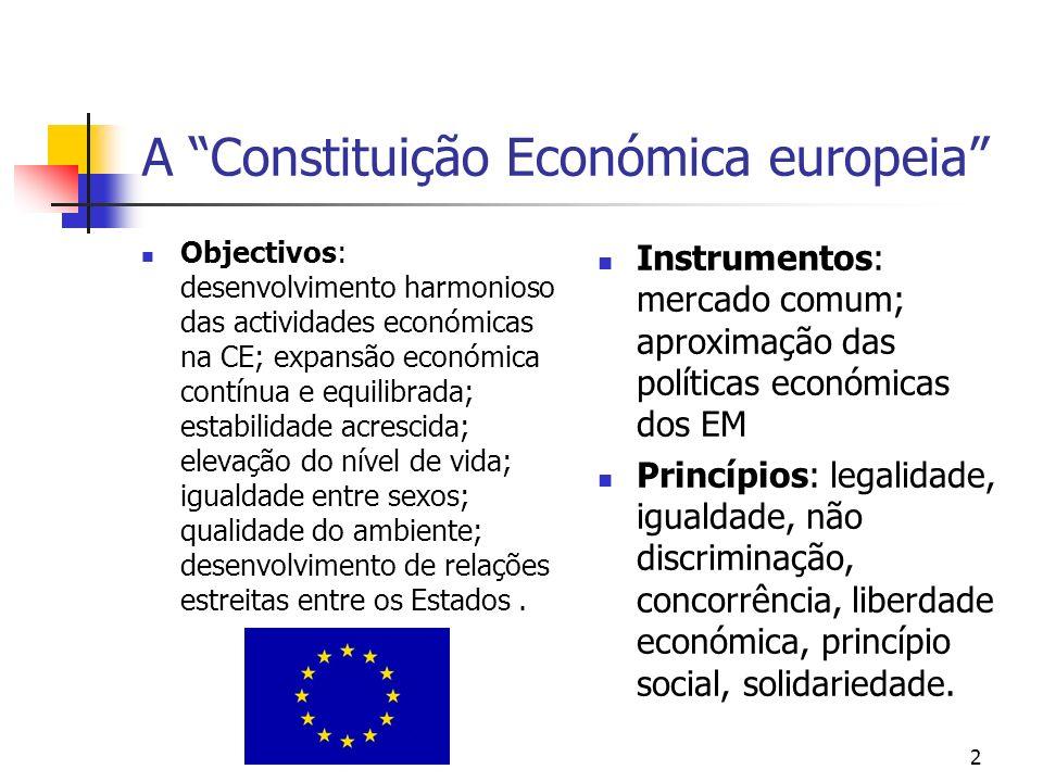 A Constituição Económica europeia Objectivos: desenvolvimento harmonioso das actividades económicas na CE; expansão económica contínua e equilibrada;