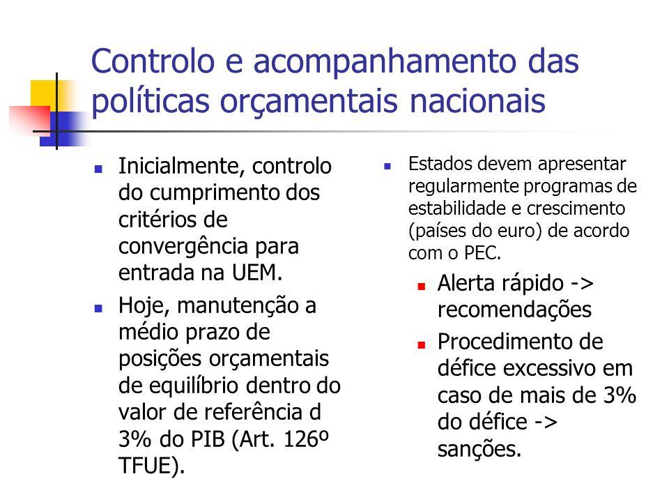Controlo e acompanhamento das políticas orçamentais nacionais Inicialmente, controlo do cumprimento dos critérios de convergência para entrada na UEM.