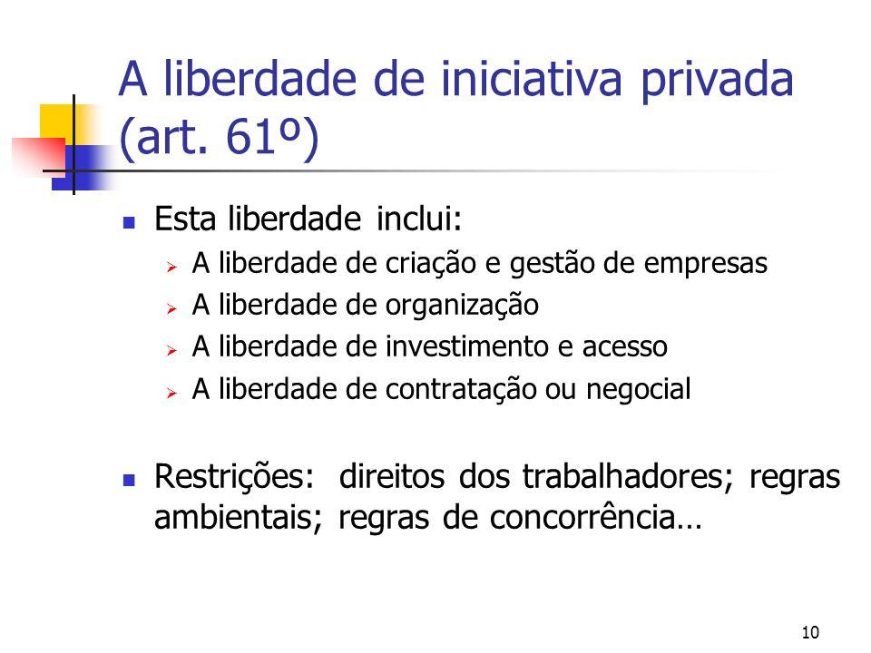 10 A liberdade de iniciativa privada (art. 61º) Esta liberdade inclui: A liberdade de criação e gestão de empresas A liberdade de organização A liberd