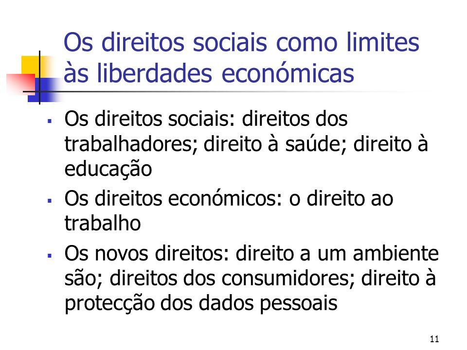 Os direitos sociais como limites às liberdades económicas Os direitos sociais: direitos dos trabalhadores; direito à saúde; direito à educação Os dire