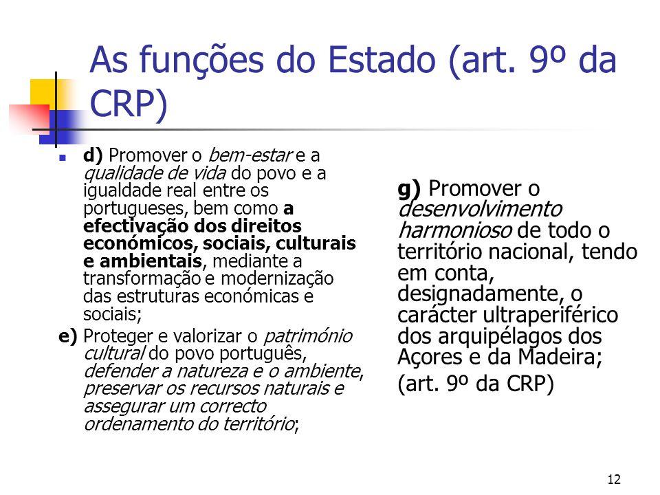As funções do Estado (art. 9º da CRP) d) Promover o bem-estar e a qualidade de vida do povo e a igualdade real entre os portugueses, bem como a efecti