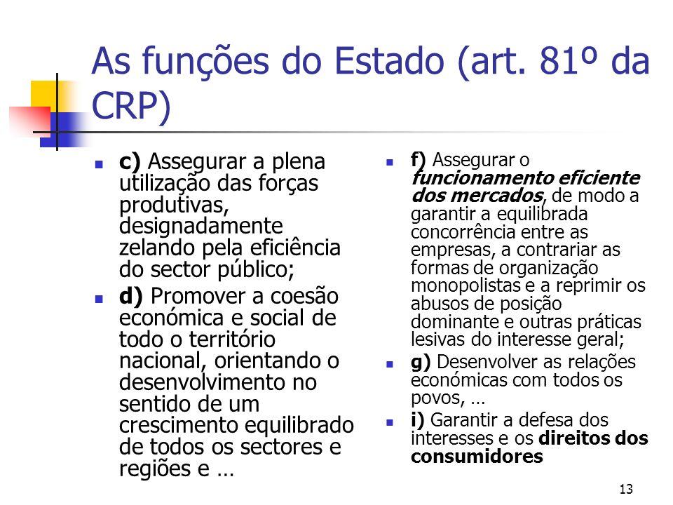 As funções do Estado (art. 81º da CRP) c) Assegurar a plena utilização das forças produtivas, designadamente zelando pela eficiência do sector público