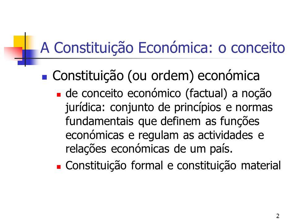 3 Entre o mercado e o Estado A lógica essencial das Constituições Económicas assenta ora nos direitos fundamentais das pessoas com incidência na área económico- social, ora na definição de uma ordem económico-social.