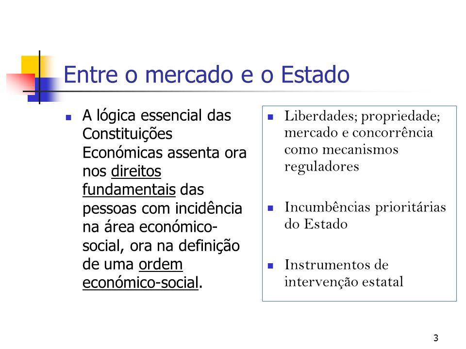 3 Entre o mercado e o Estado A lógica essencial das Constituições Económicas assenta ora nos direitos fundamentais das pessoas com incidência na área