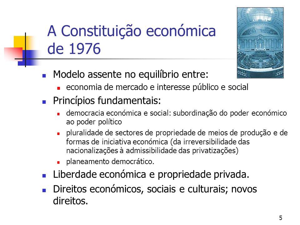 5 A Constituição económica de 1976 Modelo assente no equilíbrio entre: economia de mercado e interesse público e social Princípios fundamentais: democ