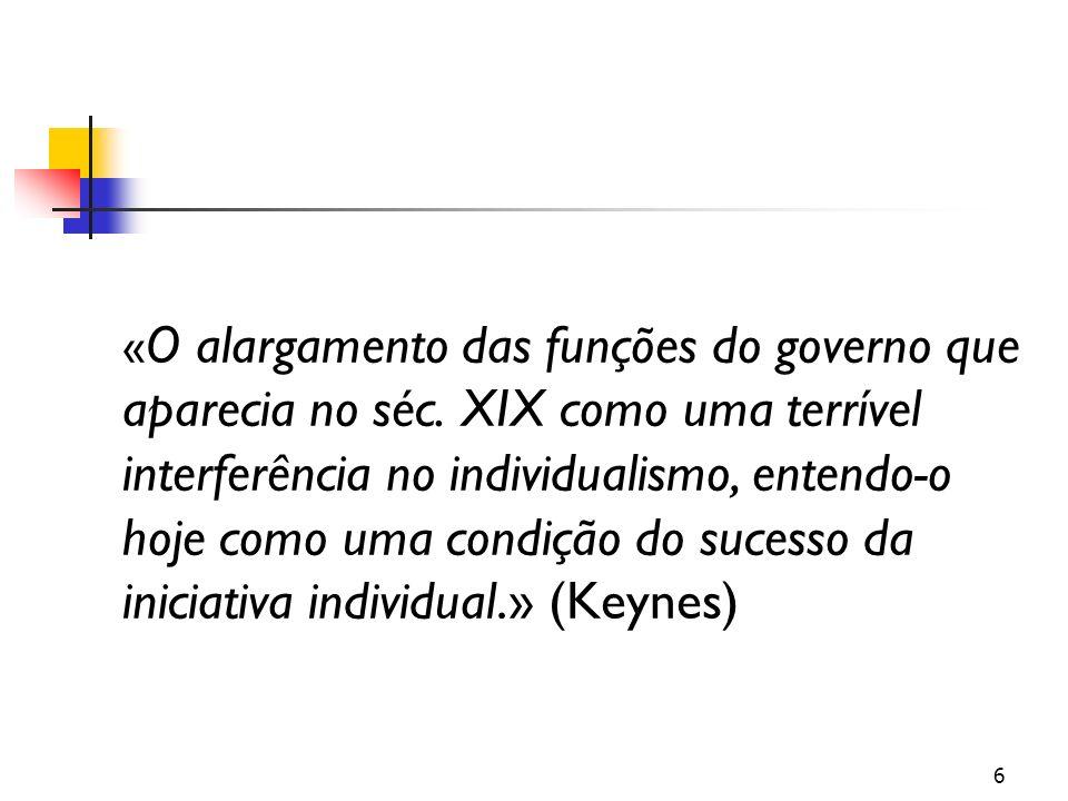 « O alargamento das funções do governo que aparecia no séc. XIX como uma terrível interferência no individualismo, entendo-o hoje como uma condição do